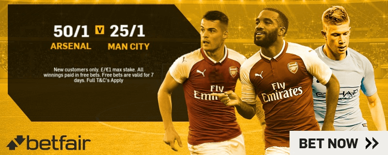 Premier League Enhanced Odds - 50/1 Arsenal v 25/1 Man City