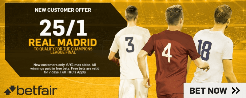 Champions League Enhanced Odds - 25/1 Real Madrid To Qualify For Final