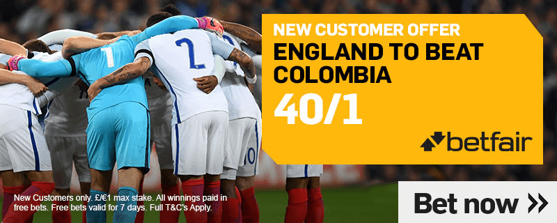 World Cup Enhanced Odds - 40/1 England To Beat Colombia
