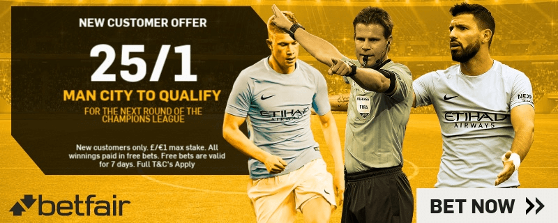 Champions League Enhanced Odds - 25/1 Man City To Qualify (vs Basel)