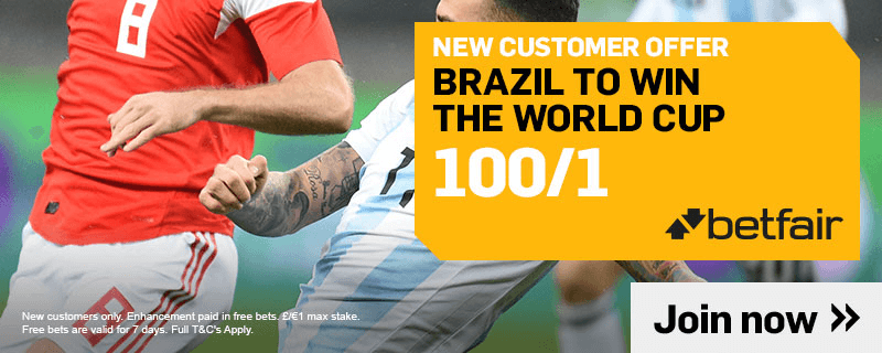 100/1 BRAZIL TO WIN THE WORLD CUP