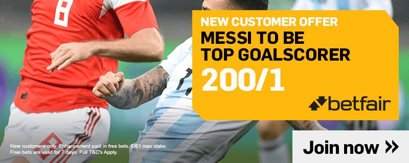 200/1 MESSI TO BE TOP GOALSCORER