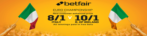 NEW CUSTOMERS - 8/1 ITALY OR 10/1 REP OF IRELAND