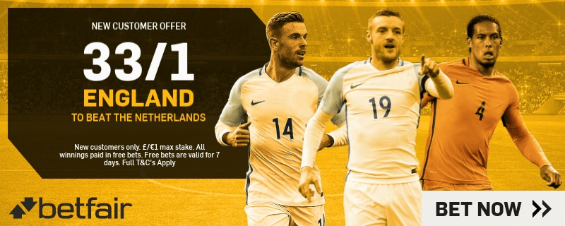 International Friendly Enhanced Odds - 33/1 England To Beat Netherlands