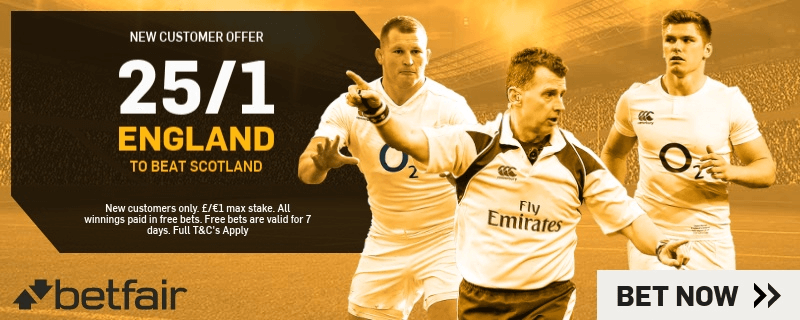 Six Nations Enhanced Odds - 25/1 England To Beat Scotland