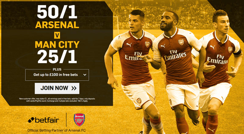 EFL Cup Enhanced Odds - 50/1 Arsenal v 25/1 Man City