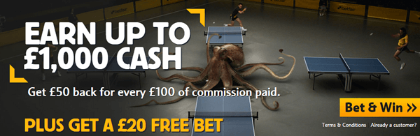 £1,000 Cashback And A £20 Free Bet