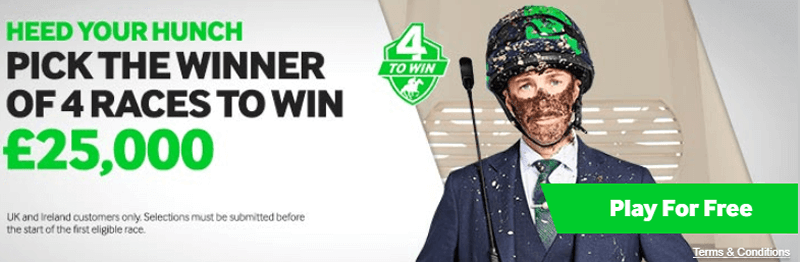 4 To Win - Win £25,000 - FREE ENTRY