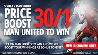 Champions League Price Boost - 30/1 Man Utd To Beat Sevilla