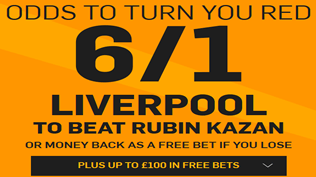6/1 Liverpool To Beat Rubin Kazan