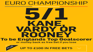 5/1 Kane, Rooney Or Vardy To Be England's Top Goal Scorer
