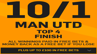 10/1 Man United To Finish Top Four