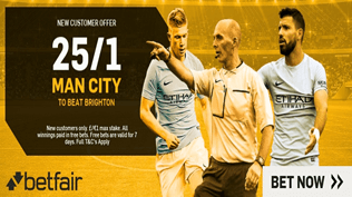 Premier League Enhanced Odds - 25/1 Man City To Beat Brighton