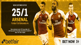 Europa League Enhanced Odds - 25/1 Arsenal To Beat Östersunds