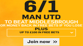 Premier League Enhanced Odds - Man Utd 6/1 To Beat Middlesbrough
