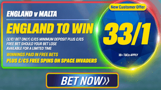 England v Malta - 33/1 England To Win PLUS £5 Free Spins On Space Invaders
