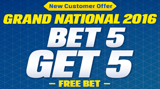 The Grand National - Paying 5 Places AND £5 Free Bet