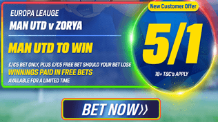 Europa League - Man Utd v Zorya - 5/1 Man Utd To Win
