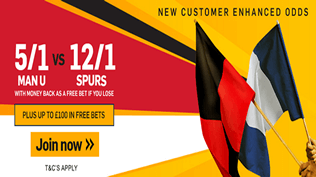 Premier League Enhanced Odds - Man Utd 5/1 or Spurs 12/1