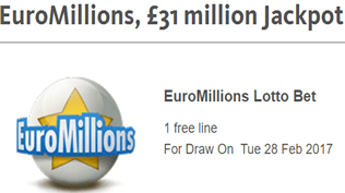 EuroMillions - £70 Million Jackpot - Claim Your Free Bet