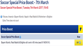 Soccer Special Price Boost - Bayern, Real & Brighton - Was 6/1...NOW 9/1!