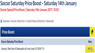 Soccer Saturday Price Boost - Arsenal, West Ham & Newcastle - Was 5/1...NOW 7/1!