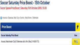 Soccer Saturday Price Boost - Arsenal, Man City, Tottenham - Was 2/1...NOW 7/2!