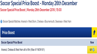 Soccer Special Price Boost - Arsenal, Chelsea & West Ham - Was 4/1...NOW 6/1!