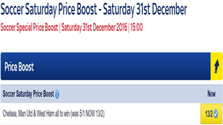 Soccer Saturday Price Boost - Chelsea, Man Utd & West Ham - Was 5/1...NOW 13/2!