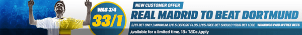 Champions League - Real Madrid 33/1 To Beat Dortmund