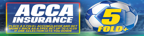 Five Fold Acca Insurance - £25 Free Bet