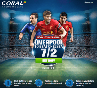 PRICE BOOST - Liverpool 7/2 To Beat Chelsea - £15 RISK FREE PROFIT!