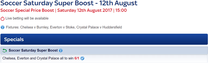 Soccer Saturday Price Boost - Chelsea, Everton & Crystal Palace - Was 5/2...NOW 6/1!