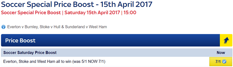 Soccer Saturday Price Boost - Everton, Stoke & West Ham - Was 5/1...NOW 7/1!