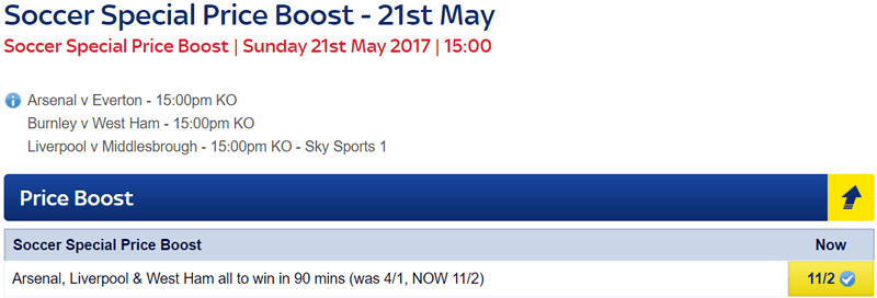 Soccer Special Price Boost - Arsenal, Liverpool & West Ham - Was 4/1...NOW 11/2!