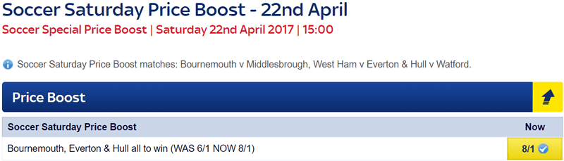 Soccer Saturday Price Boost - Bournemouth, Everton & Hull - Was 6/1...NOW 8/1!